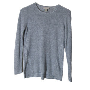 LOFT textures knit gray pullover sweater petite